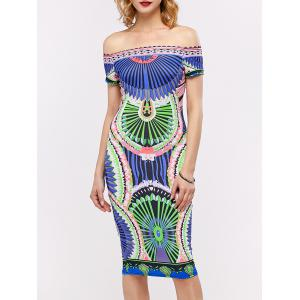 Off The Shoulder Printed Midi Bodycon Dress