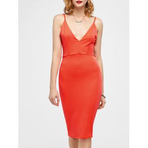 Open Back Ruched Slip Bodycon Club Dress - Jacinth - S