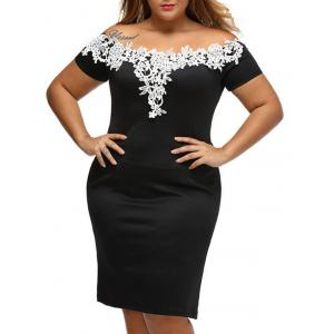 Plus Size Lace Panel Bandage Off The Shoulder Sheath Party Dress