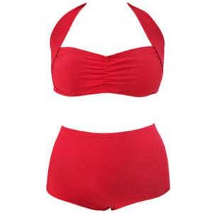 Retro Plus Size Halter High Waist Bikini Set