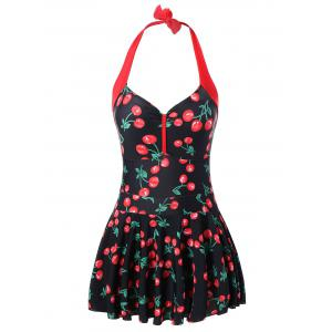 Cherry Print Plus Size Halter Neck Swimwear - Black And Red - 4xl