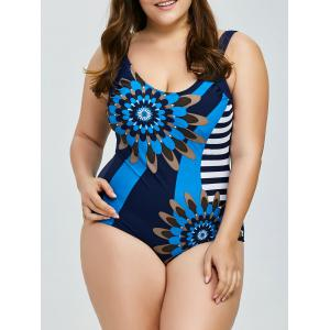 Plus Size Printed Backless One Piece Swimwear