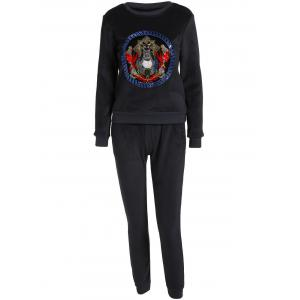 Embroidered Sweatshirt and Running Jogger Sweatpants - Black - Xl