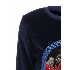 Embroidered Sweatshirt and Running Jogger Sweatpants - DEEP BLUE 3XL