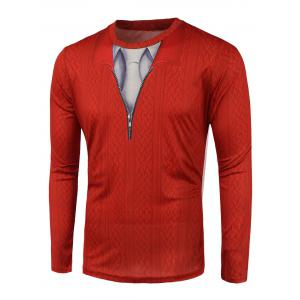 Knitwear 3D Print Round Neck T-Shirt - Red - M