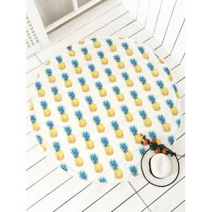 Round Pineapple Printed Tassel Beach Throw - White - One Size