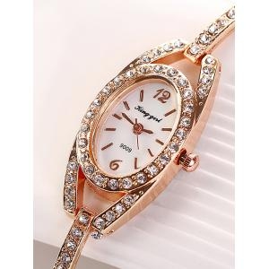 Montre ovale style bracelet en alliage ornée de diamants -