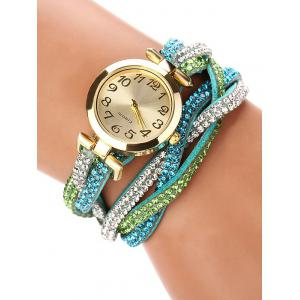 Rhinestone Studded Wrap Bracelet Watch - Green
