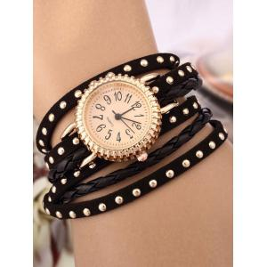 Rivet Studded Layered Bracelet Watch - Black
