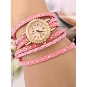 Rivet Studded Layered Bracelet Watch - Pink