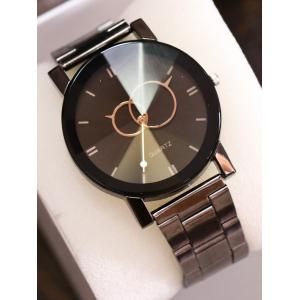 Circle Stainless Steel Band Quartz Watch - Black