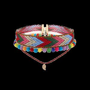 Colorful Crochet Leaf Arrow Choker Necklace