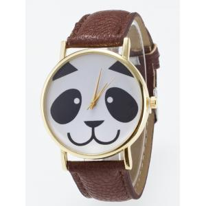 Panda Face Dial Plate Design Quartz Watch - Coffee