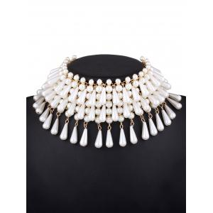 Faux Pearl Teardrop Layered Necklace - WHITE