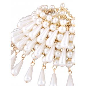 Faux Pearl Teardrop Layered Necklace -