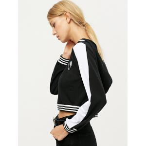 V Neck Lace Up Alien Cropped Hoodie -