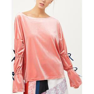 Split Sleeve Velvet Top - Pink - S
