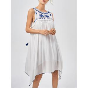 Casual Hanky Hem Bohemian Summer Dress - BLUE AND WHITE S