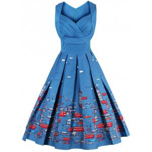 Sweetheart Neck Cartoon Print Pin Up Dress