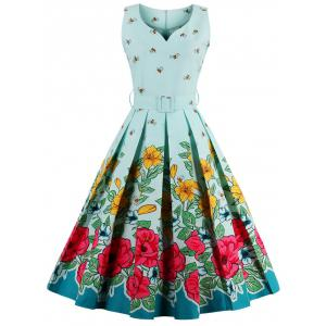 Midi Floral Print Pin Up Dress