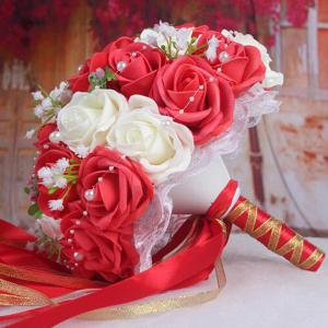 Faux Pearl Chain Artificial Rose Bridal Wedding Bouquets -