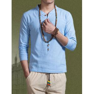 Notch Neck Cotton Button T Shirt