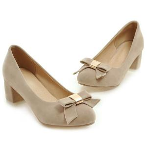 Round Toe Bowknot Pumps -