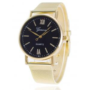 Metal Mesh Band Number Quartz Watch