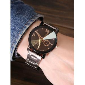Gear Stainless Steel Band Vintage Watch - BLACK