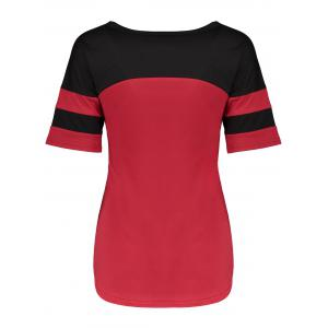 Panel Football Letter High Low T-Shirt - RED WITH BLACK XL