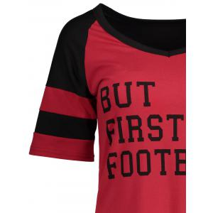 Panel Football Letter High Low T-Shirt - RED/BLACK XL