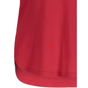 Panel Football Letter High Low T-Shirt - RED/BLACK M