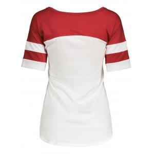Panel Football Letter High Low T-Shirt - RED L