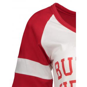 Panel Football Letter High Low T-Shirt - RED S