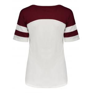 Panel Football Letter High Low T-Shirt - WINE RED L