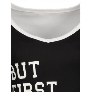 Panel Football Letter High Low T-Shirt -