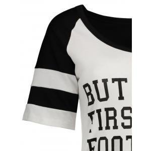 Panel Football Letter High Low T-Shirt - WHITE/BLACK XL