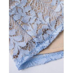 Bell Sleeve Leaf Lace Romper - LIGHT BLUE L