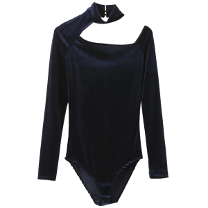 Velvet Choker Long Sleeve High Neck Bodysuit