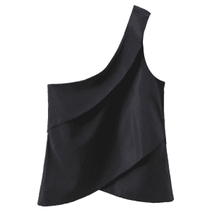 Layered One Shoulder Tank Top - BLACK S