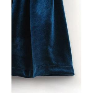 Velvet Slip Low Back Skirted Romper - PEACOCK BLUE M