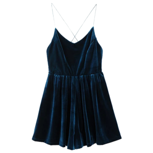 Velvet Slip Low Back Skirted Romper - Peacock Blue - S