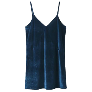 V Neck Velvet Slip Dress - Lake Blue - Xs