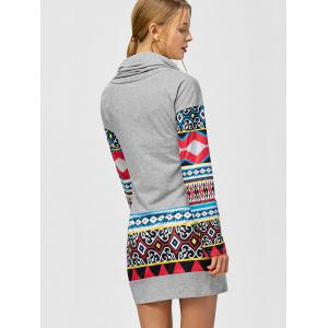 Tribal Print Long Sleeve Sheath Dress -