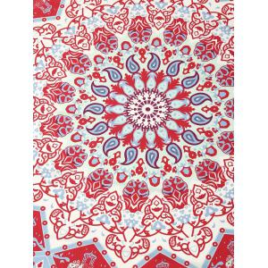 Indian Round Printed Mandala Beach Throw - RED ONE SIZE