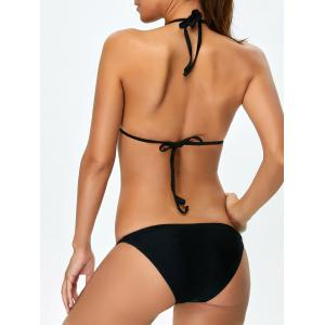 Floral High Neck Ladder Strappy Bikini - BLACK XL