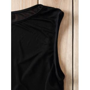 Sexy Style Jewel Neck Voile Splicing See-Through Crop Top For Women - BLACK S