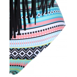 Tribal Print Halter Fringe Plus Size Swimsuit -