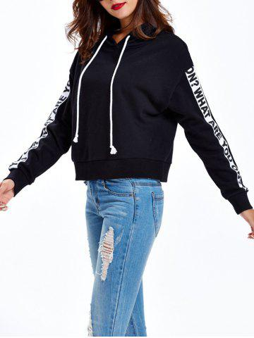 Fashion Graphic Letter Pullover Hoodie BLACK XL