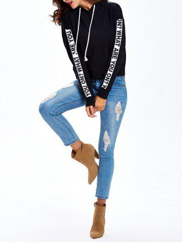 Buy Graphic Letter Pullover Hoodie - XL BLACK Mobile